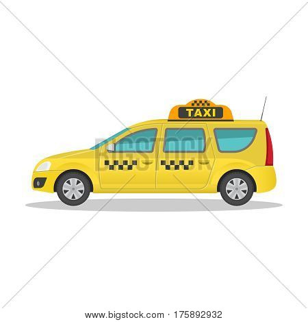 The taxi car on the isolated white background with a shadow. The vehicle in flat style. Icon of the vehicle for transportation of freight and people. Vector illustration.
