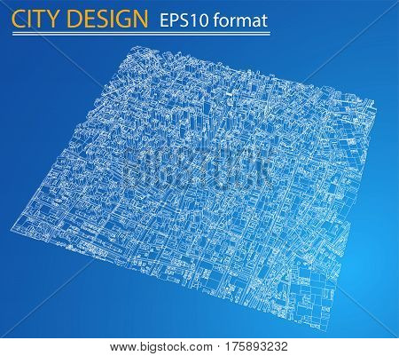 Wire-frame City, Blueprint Style. 3D Rendering Vector Illustration. Architecture Design Background