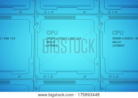Engineer working on blue print, concept Processor Unit CPU. 3d rendering