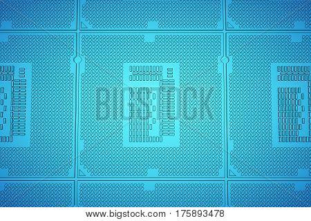 CPU blue print, thin line illustration, black outline symbol on blue background. 3d rendering