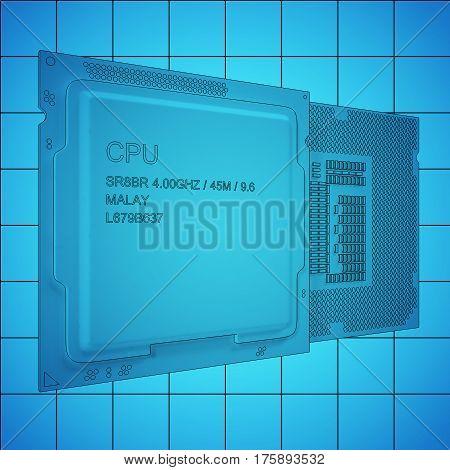 CPU bplueprint on grid, black outline. 3d rendering