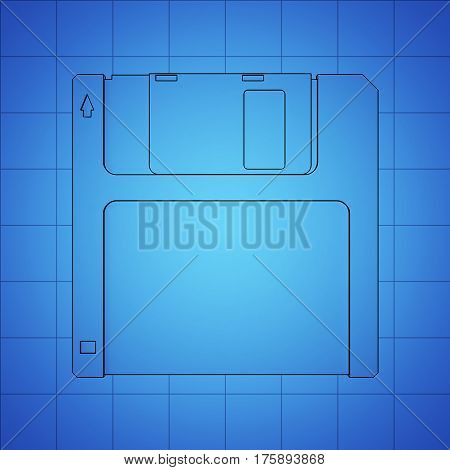 Floppy Disk blue print, thin line illustration, black outline symbol on blue background. 3d rendering