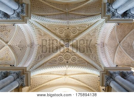 Ceiling Of The Erice Cathedral, Province Of Trapani. Sicily