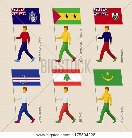 People With Flags - Mauritania, Cape Verde, Lebanon, Bermuda