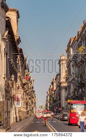 View Of The Street And Tourists In Catania City Sicily, Italy.