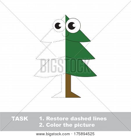 Evergreen Tree. Dot to dot educational game for kids. Half tracing worksheet to be colored.