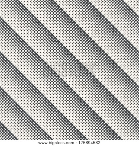 Vector seamless pattern. Modern diagonal texture. Repeating grid with dots and dotted lines of the increasing and decreasing size. Gradation from bigger to smaller. Halftone effect.