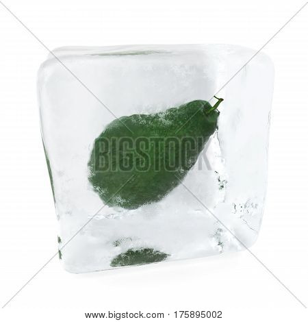 Avocado frozen in ice cube. Ice cube in front view, single ice cube isolated on white background, 3d rendering