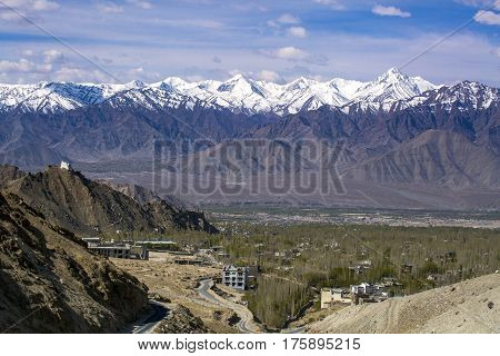 View Of Leh City, The Capital Of Ladakh, Northern India. Leh City Is Located In The Indian Himalayas