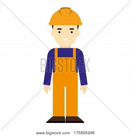Builder man in blue overall. Erector in orange helmet. poster