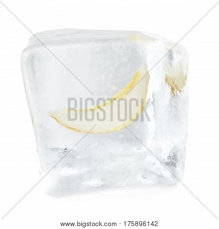Slice Melon frozen in ice cube, ice cube in front view, single ice cube isolated on white background, 3d rendering
