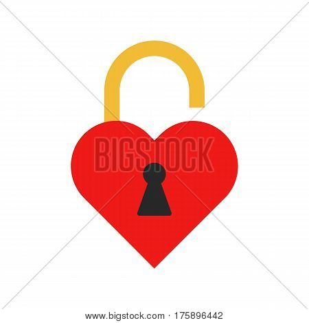 Flat icon unlocked heart padlock. Love padlock. Vector illustration.