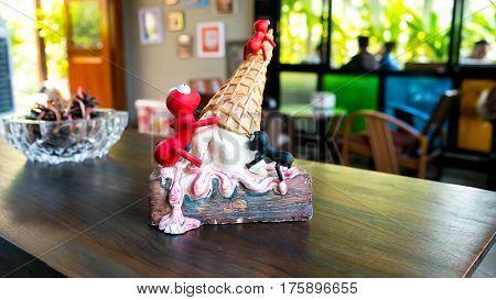 Ice cream shop Ice cream shop decoration Symbol of Ice-cream Many ants on ice-cream cone