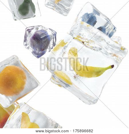 Fruits frozen in ice cube, ice cube in front view, single ice cube isolated on white background, 3d rendering