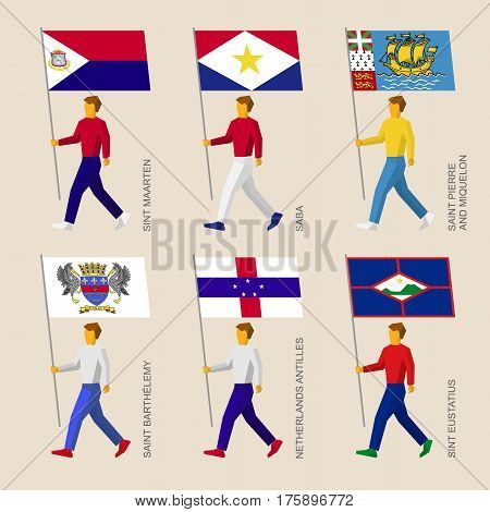 Set Of Simple Flat People With Flags Of Caribbean Countries