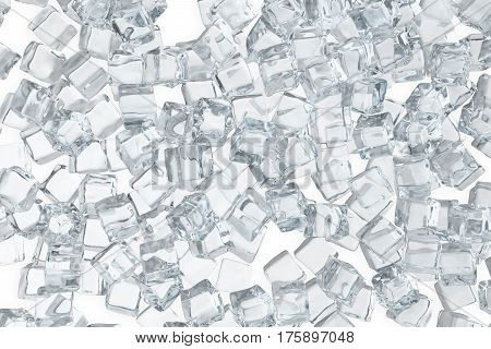 Ice cubes background, pile of white ice cubes, 3d rendering