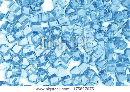 Heap of ice cubes. background of blue ice cubes, 3d rendering