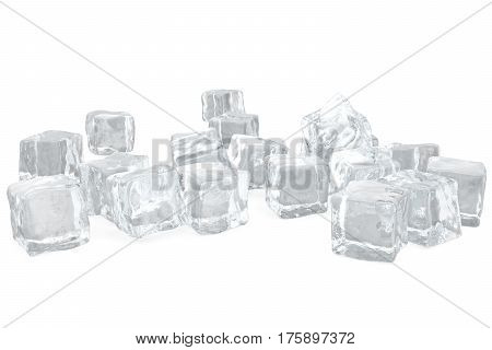 Heap of ice cubes. background of white ice cubes, 3d rendering