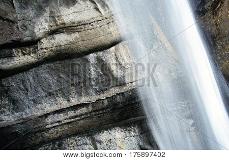 Waterfall Angon landscape on Annecy lake Savoy