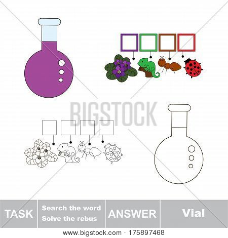 Educational puzzle game for kids. Find the hidden word Vial
