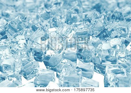 Heap of ice cubes. background of ice cubes with depth of field, 3d rendering