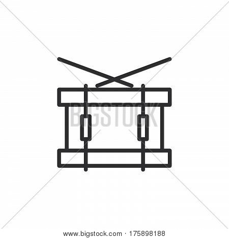 Snare drum line icon outline vector sign linear style pictogram isolated on white. Symbol logo illustration. Editable stroke. Pixel perfect