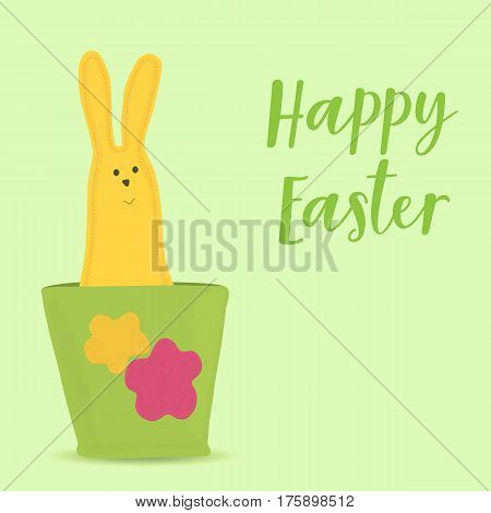 Easter bunny sitting in pot. Greeting card for Easter.