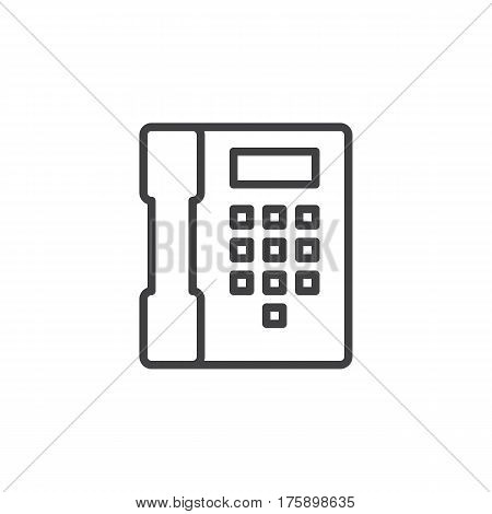 Telephone phone line icon outline vector sign linear style pictogram isolated on white. Contact symbol logo illustration. Editable stroke. Pixel perfect