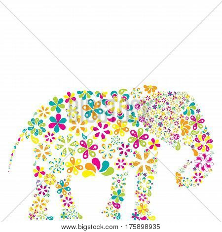 Concept of lots of flowers in the shape of an elephant on white background.
