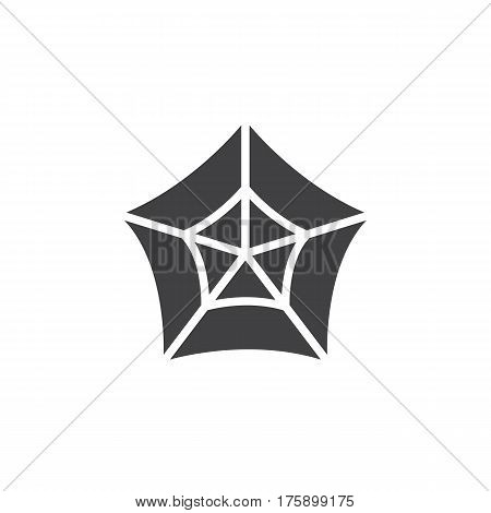 Spider web icon vector filled flat sign solid pictogram isolated on white. Cobweb symbol logo illustration. Pixel perfect