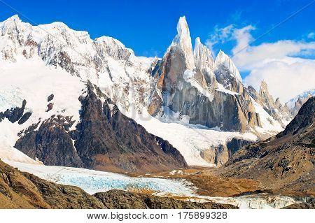Famous Cerro Torre In Los Glaciares National Park, Patagonia, Argentina, South America