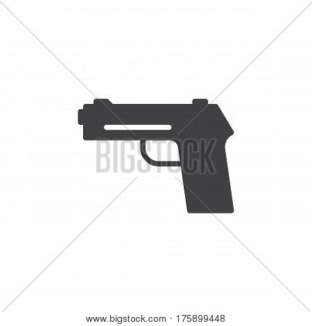 Gun pistol handgun icon vector filled flat sign solid pictogram isolated on white. Firearm symbol logo illustration. Pixel perfect