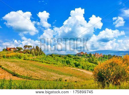 Beautiful Landscape With The Historic Cities Of San Gimignano And Certaldo In The Background In Tusc