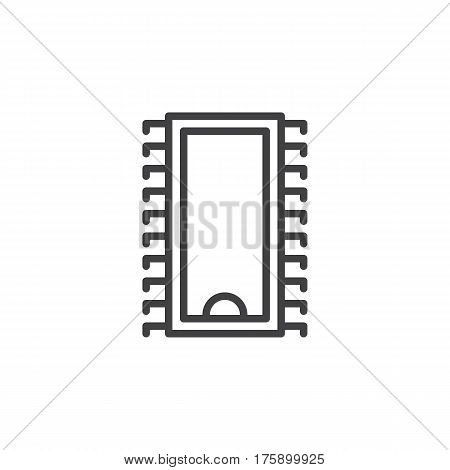 Integrated circuit microchip line icon outline vector sign linear style pictogram isolated on white. Symbol logo illustration. Editable stroke. Pixel perfect