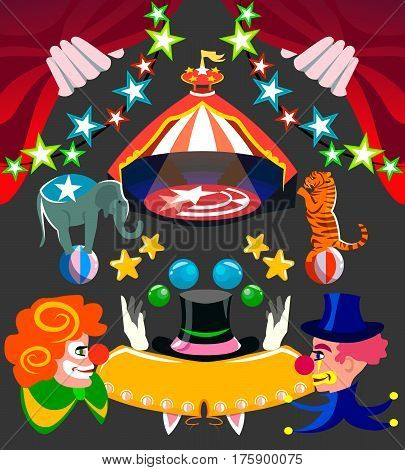 Circus set isolated items and circus requisite with a place under the text and clowns