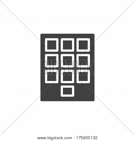 Numeric keypad icon vector filled flat sign solid pictogram isolated on white. Symbol logo illustration. Pixel perfect