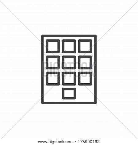 Numeric keypad line icon outline vector sign linear style pictogram isolated on white. Symbol logo illustration. Editable stroke. Pixel perfect