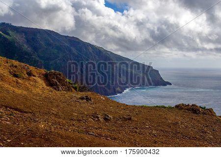 Westermost point colorful cliff coast Ponta do Pargo Madeira.
