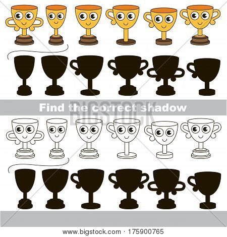 Trophy cup set to find the correct shadow, the matching educational kid game to compare and connect objects and their true shadows, simple game level for preschool kids education.