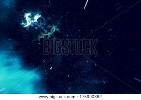 Beautiful space background with stars sky and galaxies and constellations in outer space, 3d rendering