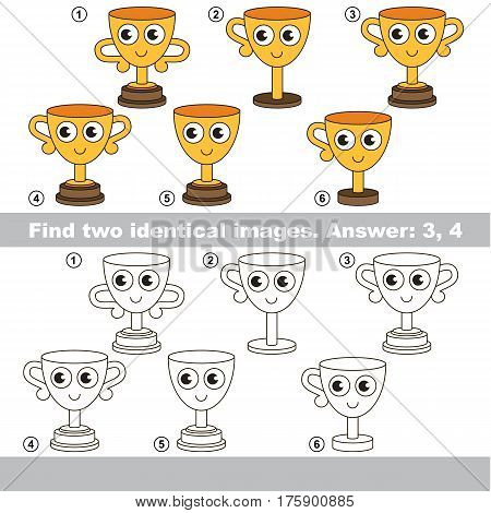 Find design difference, the task is to find similar objects, the educational kid matching game for preschool kids with easy gaming level to compare items and find two same Winner Cups.