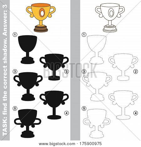 Trophy cup with different shadows to find the correct one, compare and connect object with it true shadow, the educational kid game with simple level of difficulty.