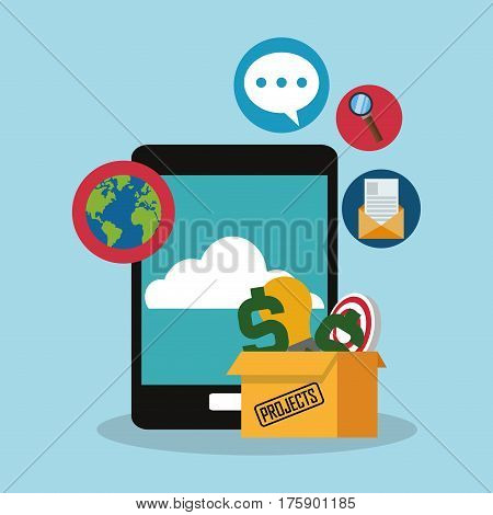 cellphone with money or economy related icons image vector illustration design