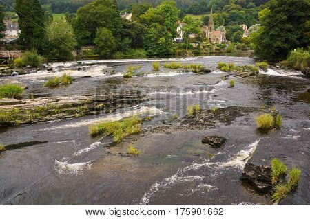 River Dee or Afon Dyfrdwy in Llangollen a popular gateway tourist and scenic destination in North East Wales