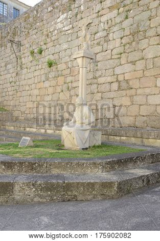 TUI, SPAIN - AUGUST 7, 2016: Sculpture of a archbishop a writer and journalist in Tui a town of the province of Pontevedra in Galicia Spain.