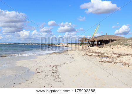 Lonely Platja Es Trenc Beach Panorama, Bamboo Hut Beach Bar And Mediterranean Sea On Majorca, Spain