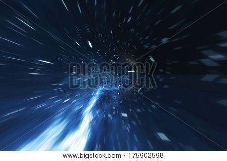 Cosmic wormhole, space travel concept, funnel-shaped tunnel that can connect one universe with another, 3d rendering