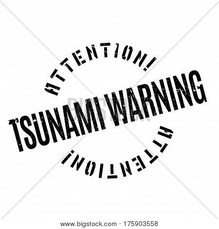 Tsunami Warning rubber stamp. Grunge design with dust scratches. Effects can be easily removed for a clean, crisp look. Color is easily changed.