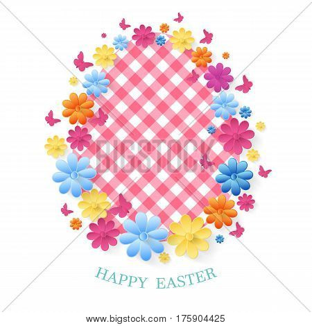 Happy Easter Day greeting card. Easter spring background, frame with flowers and butterflies.