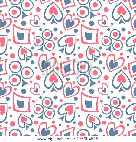 Seamless Vector Pattern With Icons Of Playings Cards. Background With Hand Drawn Symbols. Decorative